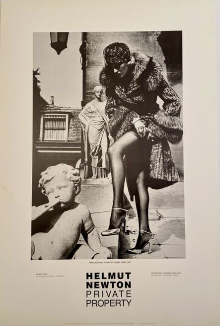 """Helmut Newton, 'Rare Limited Helmut Newton """"Private Property"""" Gallery Lithographic Poster (features the photo '""""PERELACHAISE TOMB OF TALMA. PARIS, 1977"""")', 1985"""