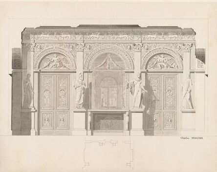 Charles Percier, 'View of the Louvre, a design for the Galerie des Antiques'