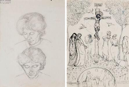 Alberto Giacometti, 'Deux Études d'Annetta Giacometti', ca. 1920