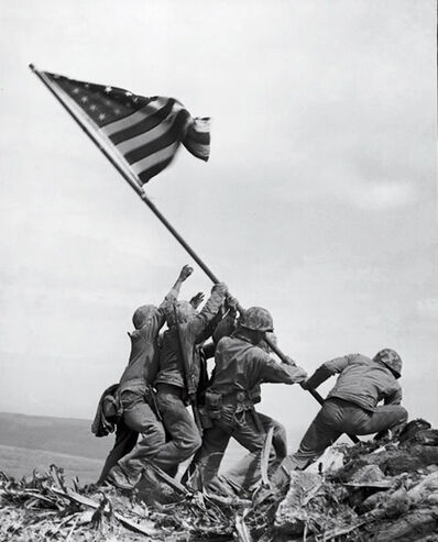 Joe Rosenthal, 'Marines of the 28th Regiment Raise American Flag atop Mt. Suribachi, Iwo Jima, Ref #32279', 1945