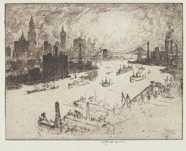 Joseph Pennell, 'Sunset, from Williamsburg Bridge', 1915