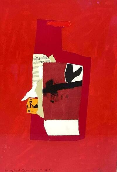 """Robert Motherwell, '""""Redness of Red"""" Lithograph Screenprint Collage Contemporary Abstract Abex 1/100', 1984"""
