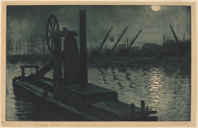 Henri-Charles GuŽrard, 'La Drague Dieppe (A Dredger in Dieppe Harbor by Moonlight)', ca. 1885