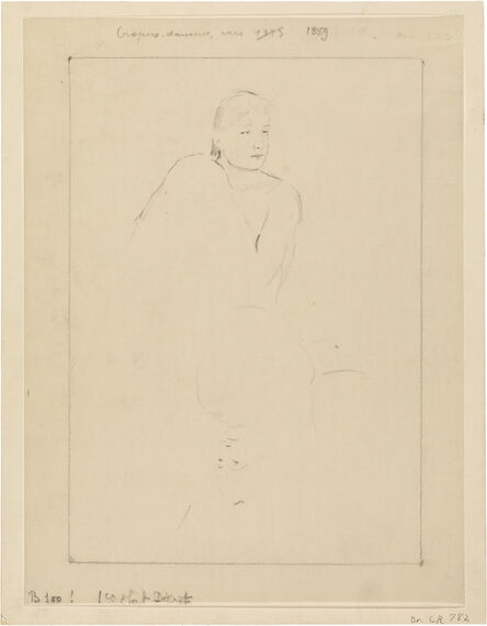 """Mary Cassatt, 'Sketch for """"Young Girl Fixing Her Hair""""', ca. 1889"""