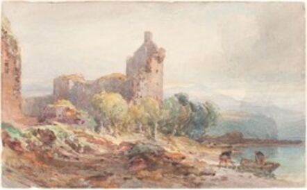 William Leighton Leitch, 'A Ruined Castle on a Lake', 1881