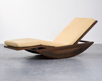 Joaquim Tenreiro, 'Rocking chaise lounge in solid rosewood with upholstered cushion', 1947