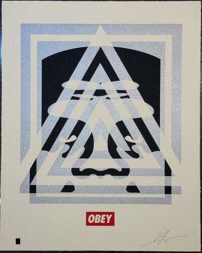 Shepard Fairey, 'Shepard Fairey Obey Giant Pyramid Top Icon Face Letter Press Screen Print Street Art ', 2021