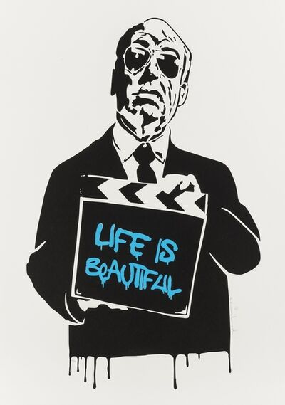 Mr. Brainwash, 'Alfred Hitchcock (aka Life is Beautiful) (Blue)', 2008