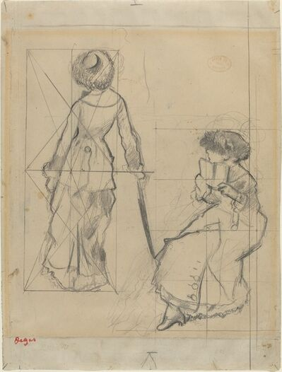 """Edgar Degas, 'Study for """"Mary Cassatt at the Louvre: The Etruscan Gallery"""" [recto]', ca. 1879"""