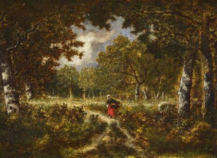 Narcisse Virgile Diaz de la Peña, 'Wood Gatherer on a Trail', ca. 1870