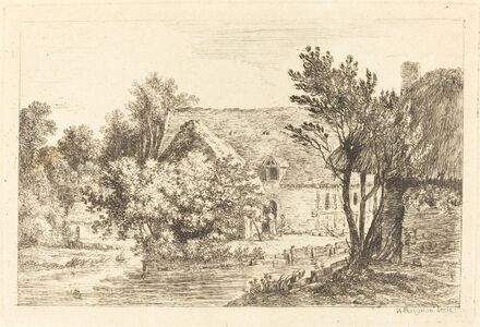 Nicolas Pérignon, 'A House and a Shaded Cottage on the Banks of a River', ca. 1770