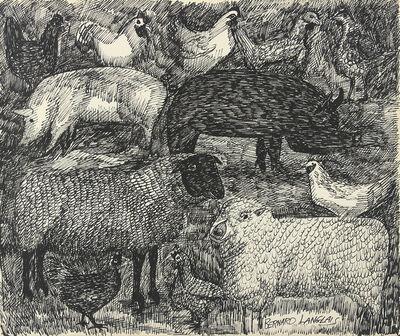 Bernard Langlais, 'Sheep, Pigs, and Chickens', ca. 1970