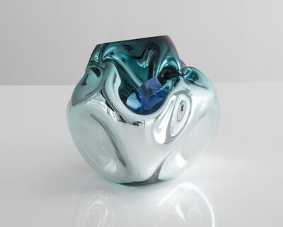 Jeff Zimmerman, 'Petite crumpled sculptural vessel in silver and turquoise', 2017