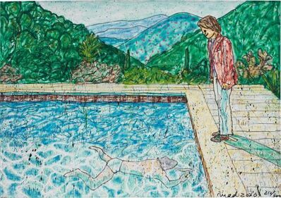 MADSAKI, 'Portrait of An Artist (Pool with Two Figures) II (inspired by David Hockney)_P (Framed)', 2020