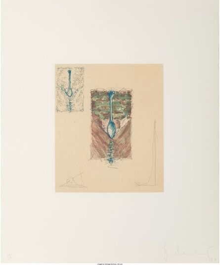 Claes Oldenburg, 'Postcard of the Spoon on Isle St. Louis, with needles', 1979