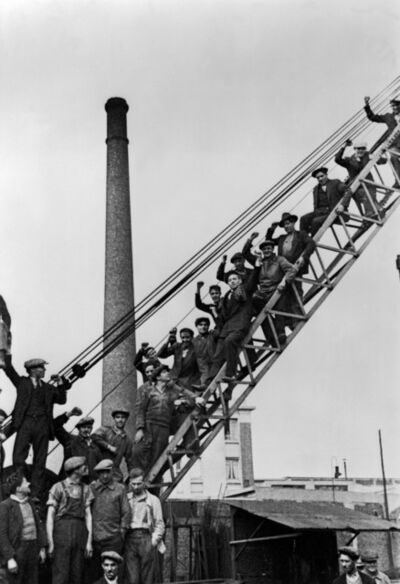 David Seymour, 'Town of Saint-Ouen. National strike for the 40-hour week, paid holidays, and collective agreements. Workers organise a sit-in at their steel factory. ', 1936