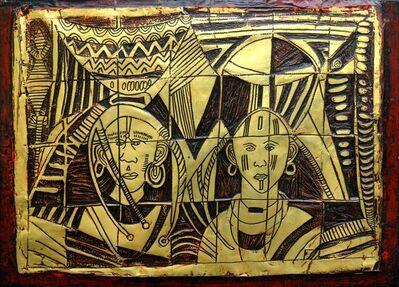 Bruce Onobrakpeya, 'Two face IV', 2015