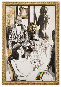 Renato Guttuso, 'Studio per il 'Caffè Greco' (con G. D'Annunzio)', 1976