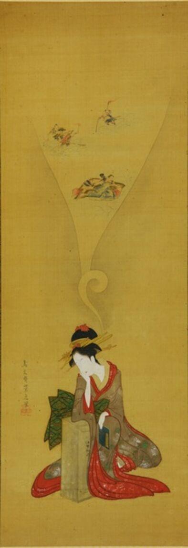 Chobunsai Eishi, 'Young woman dreaming of Ise Monogatari', ca. early 19th Century