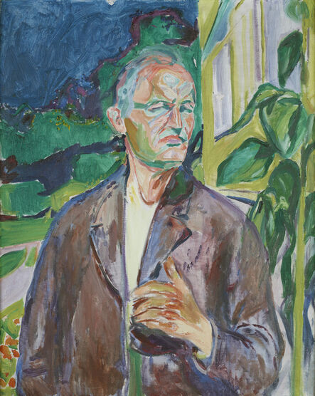 Edvard Munch, 'Self-portrait in front of the House Wall', 1926