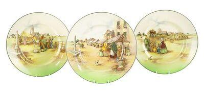 Royal Doulton, 'three rare Market Day B series ware plates', c.1954