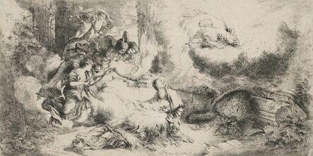 Giovanni Benedetto Castiglione, 'The Nativity with God the Father and Angels', ca. 1647