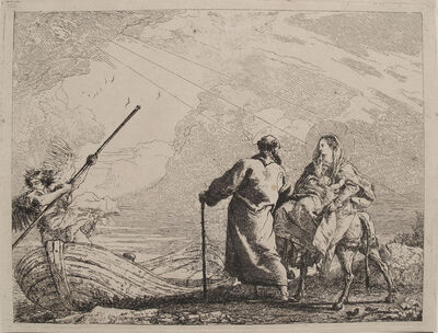 Giovanni Domenico Tiepolo, 'The Holy Family at the Bank of the River (Flight into Egypt: plate no. 14)', 1750