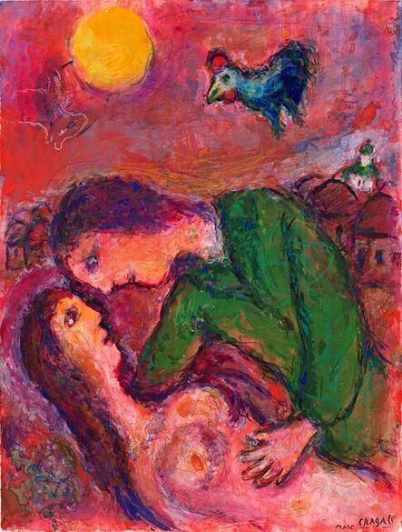 Marc Chagall, 'Tendresse sur fond rose-orangé', 1980