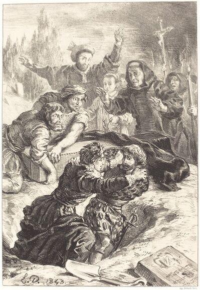 Eugène Delacroix, 'Hamlet and Laertes in the Grave of Ophelia (Act V, Scene I)', 1843