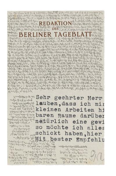 Robert Walser, 'Microscript 107, September–November', 1928