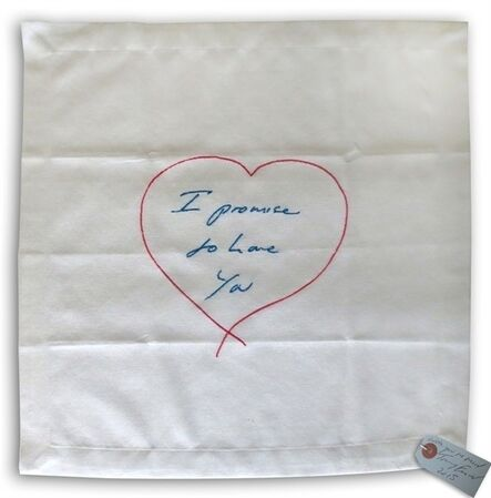 Tracey Emin, 'I Promise To Love You - Embroidered Napkin', 2015