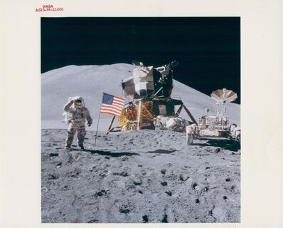 David Scott, 'James Irwin salutes by the Lunar Module and Rover, Apollo 15, August 1971'