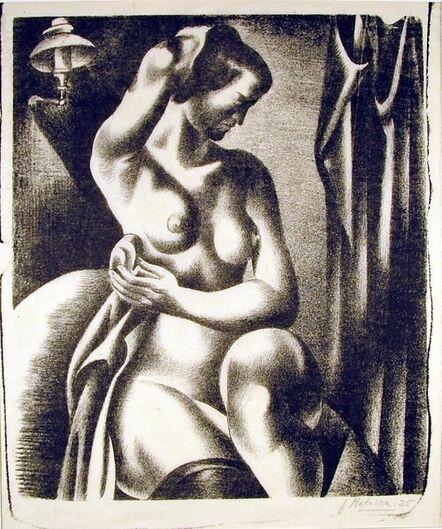 Jan Matulka, 'Three-Quarter View of Nude Bathing Seated Near Lamp', 1925