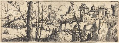 Augustin Hirschvogel, 'Landscape with Castle at Right, Surrounded by Rocks', 1546