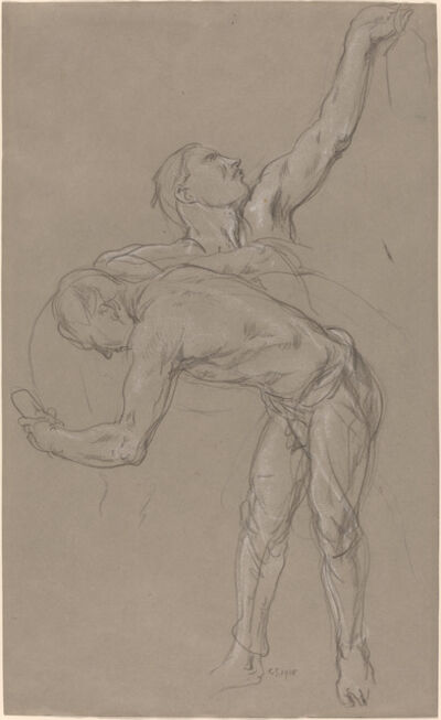 """Charles Haslewood Shannon, 'Two Male Figures: Study for """"The Good Samaritan""""', 1918"""