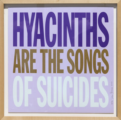 John Giorno, 'Hyacinths are the Songs of Suicides', 2007