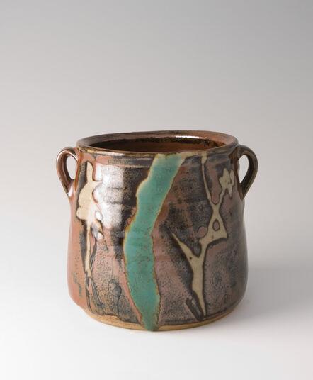 Shōji Hamada, 'Mizusashi, kaki glaze with wax resist brushwork', ca. 1970