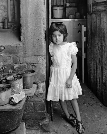 David Goldblatt, 'Yasmin at kitchen door of Miss Tahera Karbelkar, Kause Street, Fietas, Johannesburg. December 1976', 1976