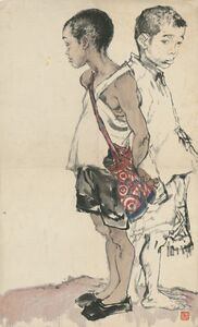 Li Jin 李津, 'Figure Study of Two Schoolboys 造型练习:两个上学郎', 1981