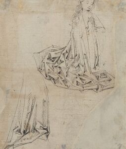 Master of the Coburg Roundels, 'Female Figure Kneeling in Prayer [verso]', ca. 1490