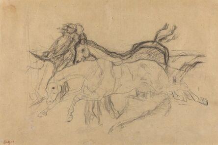 """Edgar Degas, 'Racehorses (study for """"Scene from the Steeplechase: The Fallen Jockey"""")', ca. 1881"""