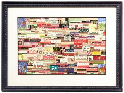William Dole, 'Wine labels Prior to 1970s Modernist Collage Assemblage with Watercolor', 20th Century