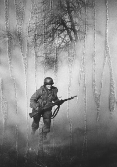 Tony Vaccaro, 'American GI Ivan Parrott is seen running through smoke in no man's land near Neuss, Germany during the Battle for the Rhine, World War II, 1st March 1945'