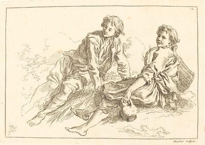 François Boucher after Abraham Bloemaert, 'Reclining Shepherd Boys', published 1735