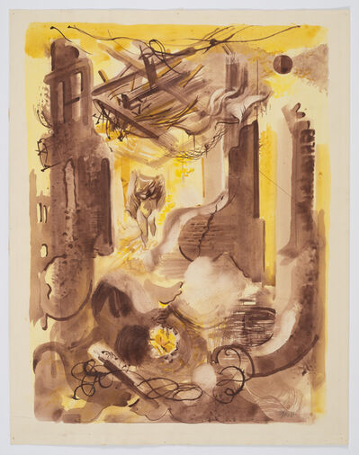 George Grosz, 'Burning House and Nude', ca. 1946