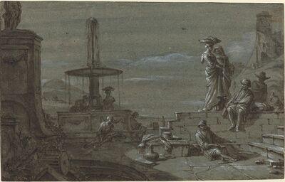 Thomas Wyck, 'Piazza by Moonlight', 1650s?