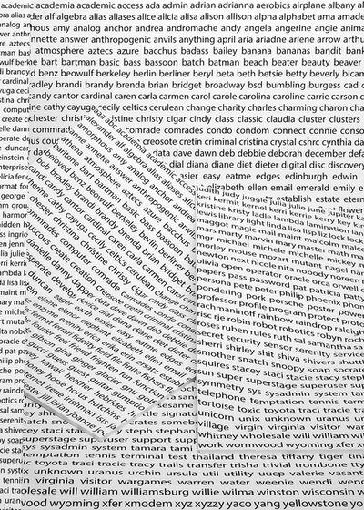 John Houck, 'Common Passwords in Alphabetical Order', 2012