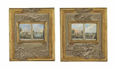 Claude Boucher, 'Four views of the châteaux of Rambouillet, Anet and Sceaux inset in a pair of frames with tinted and gilded plaster bas-reliefs of trophies symbolizing music and painting'