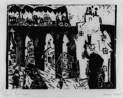 Lyonel Feininger, 'Die Eisenbahnbrücke (Railroad Viaduct)', 1919