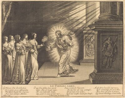 Abraham Bosse, 'The Wise Virgins Carrying Their Lamps'